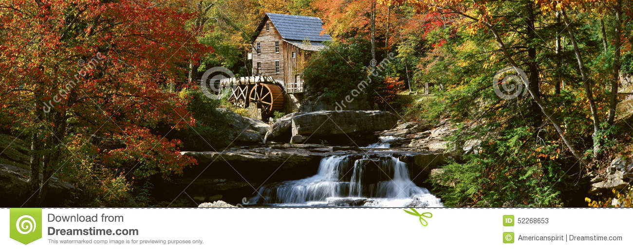 Download Panoramic Of Glade Creek Grist Mil And Autumn Reflections And Waterfall In Babcock State Park, WV Stock Image - Image of county, photography: 52268653