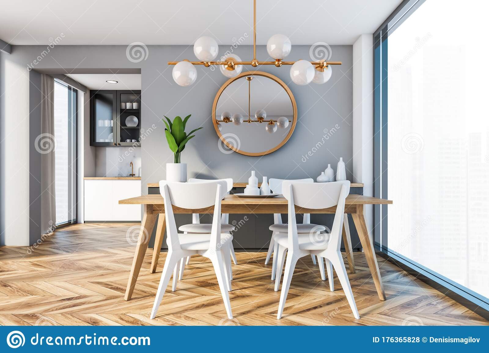 Panoramic Gray Dining Room With Mirror Stock Illustration Illustration Of Luxury House 176365828