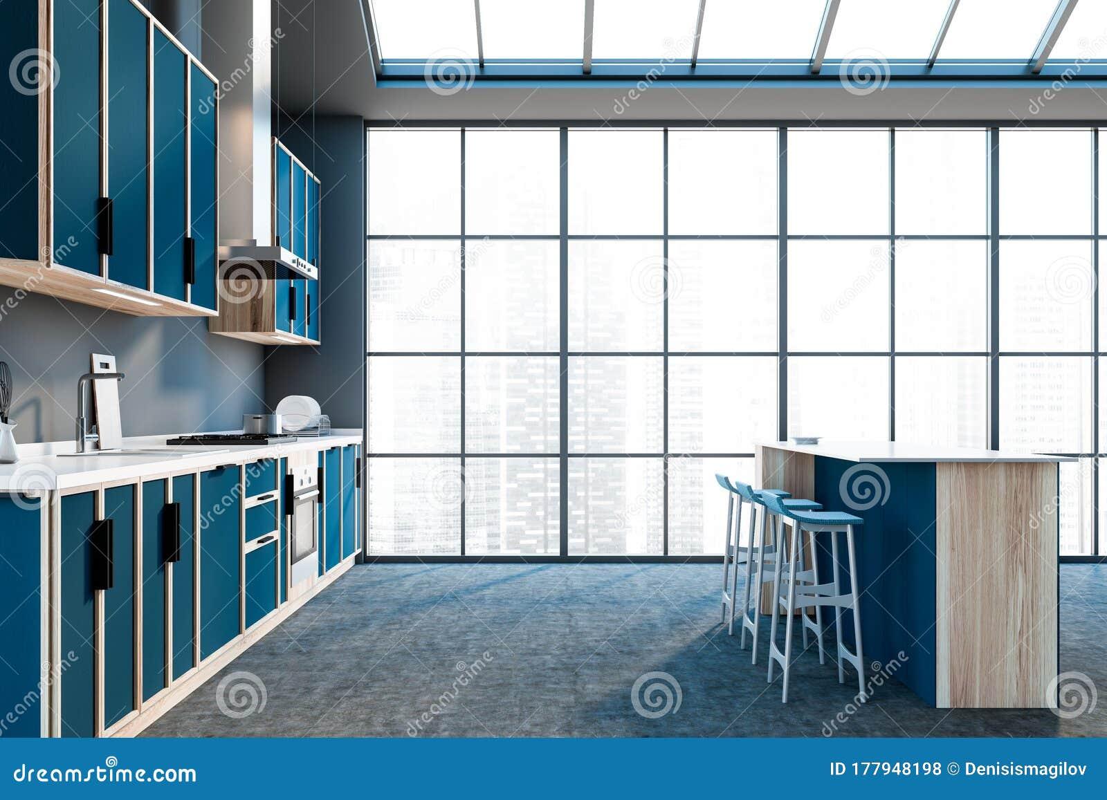 Panoramic Gray Kitchen Countertops And Bar Stock Illustration Illustration Of Floor Decor 177948198