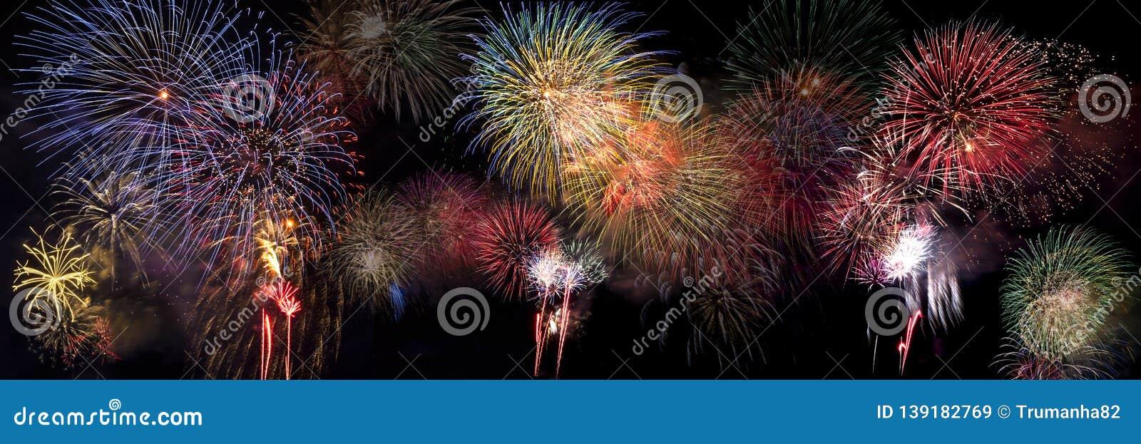 Colorful Fireworks Bursting in Night Sky