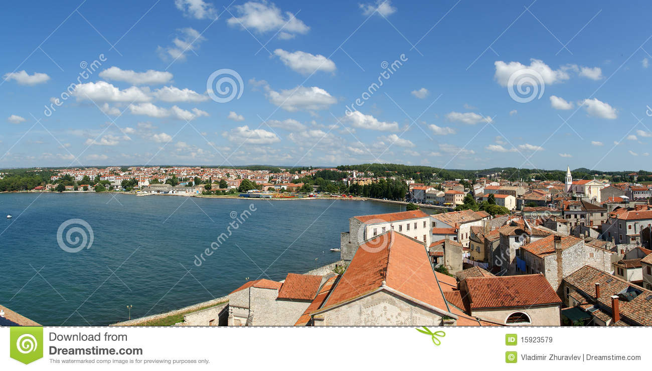 Panoramic landscape with the sky, the sea and roof
