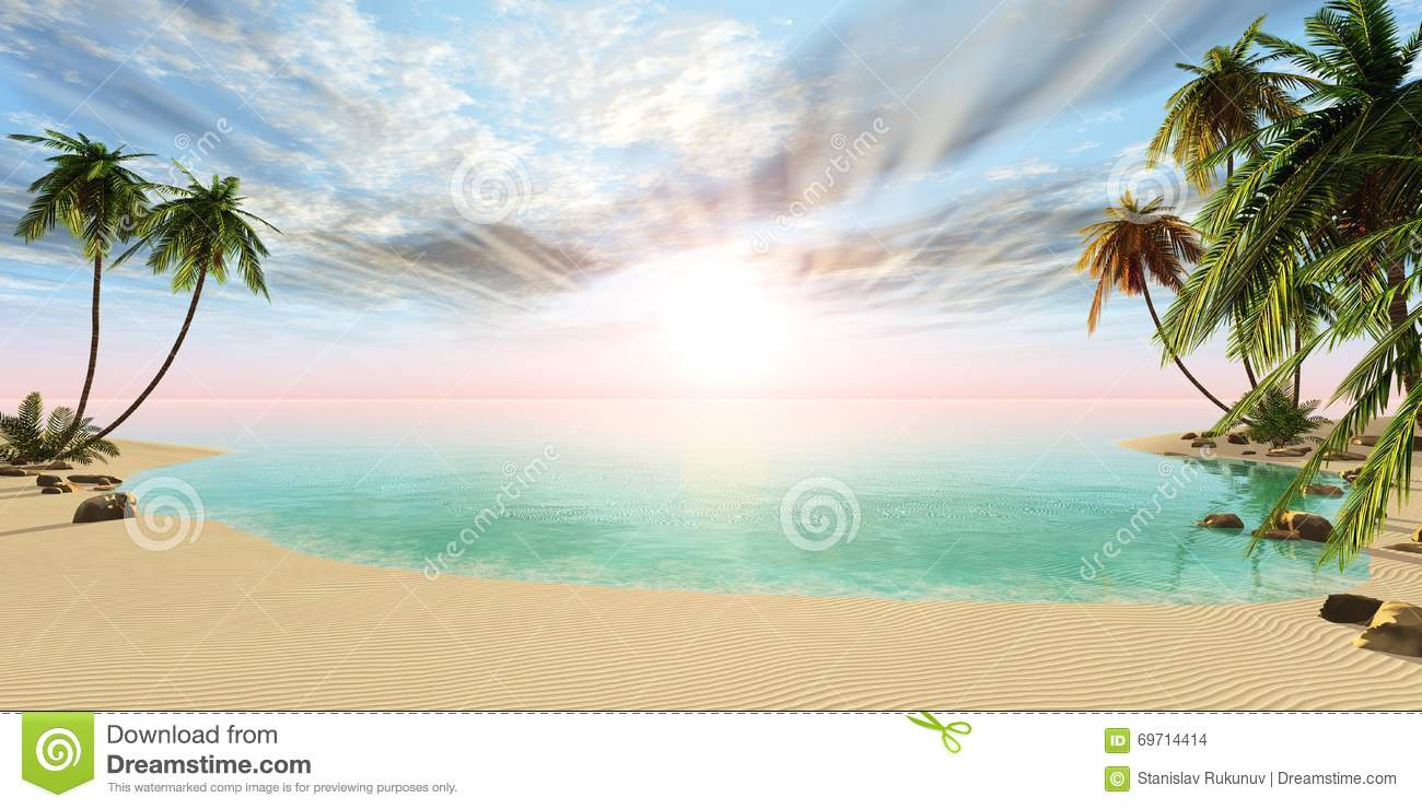 panoramic landscape of tropical beach with palm trees