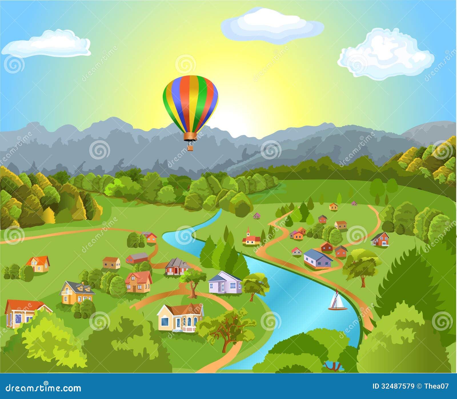 Landscape Illustration Vector Free: Panoramic Landscape Stock Vector. Illustration Of Tourist
