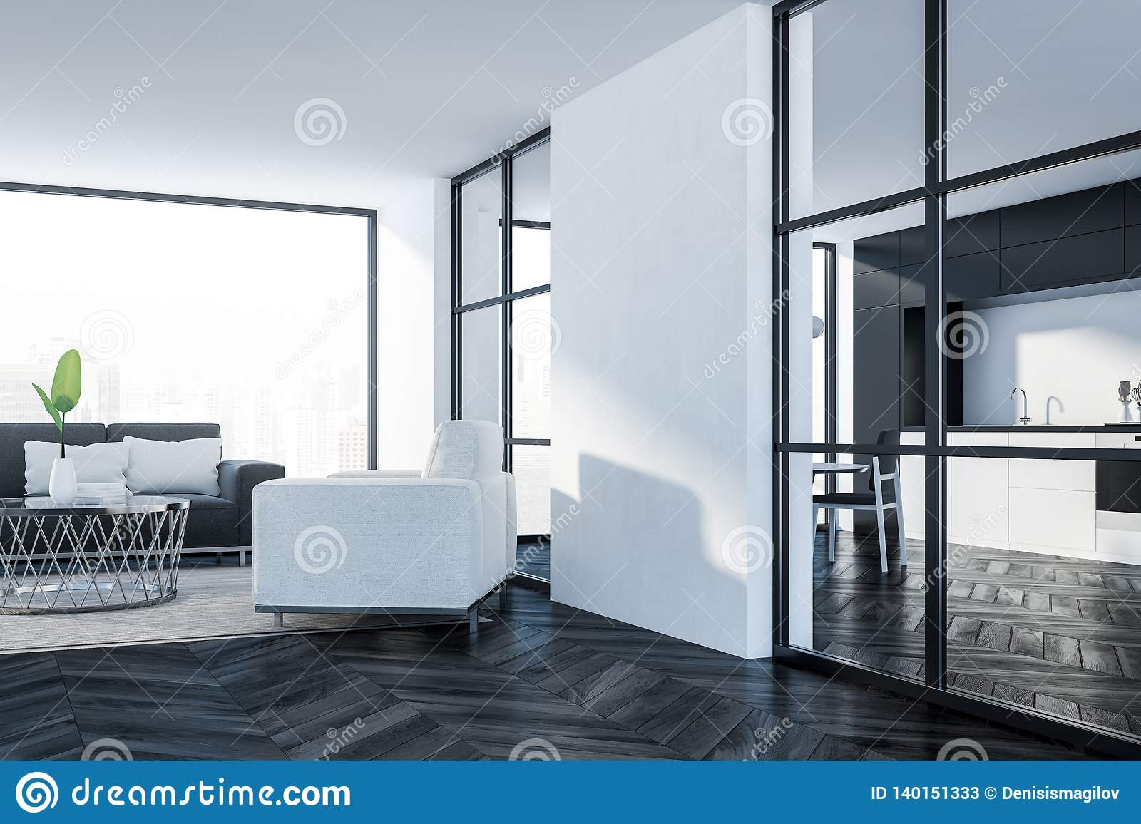 Panoramic Living Room With Gray Couch Stock Illustration