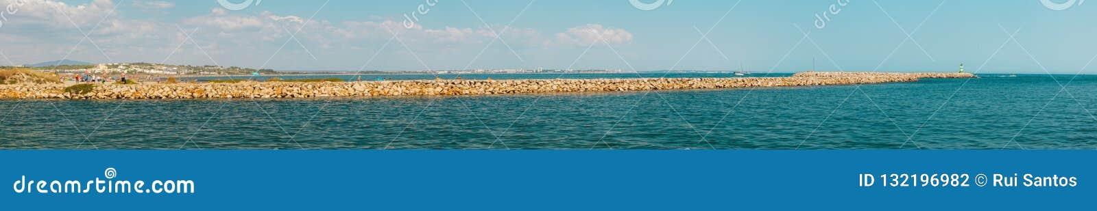 Panoramic Meia praia, Half beach, pier / harbour entrance, Lagos