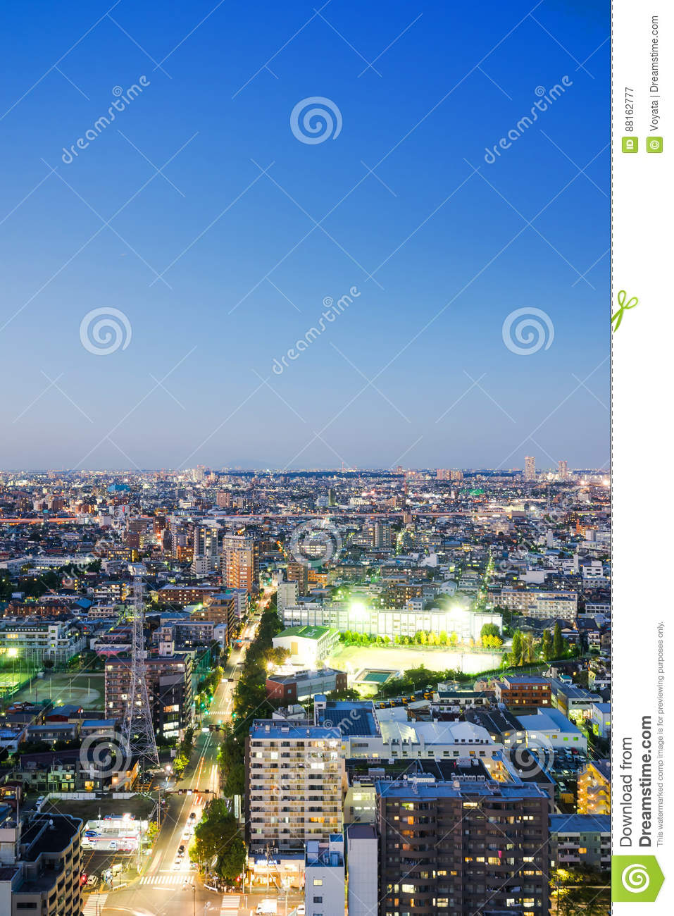 Modern Office With Night City View Stock Image