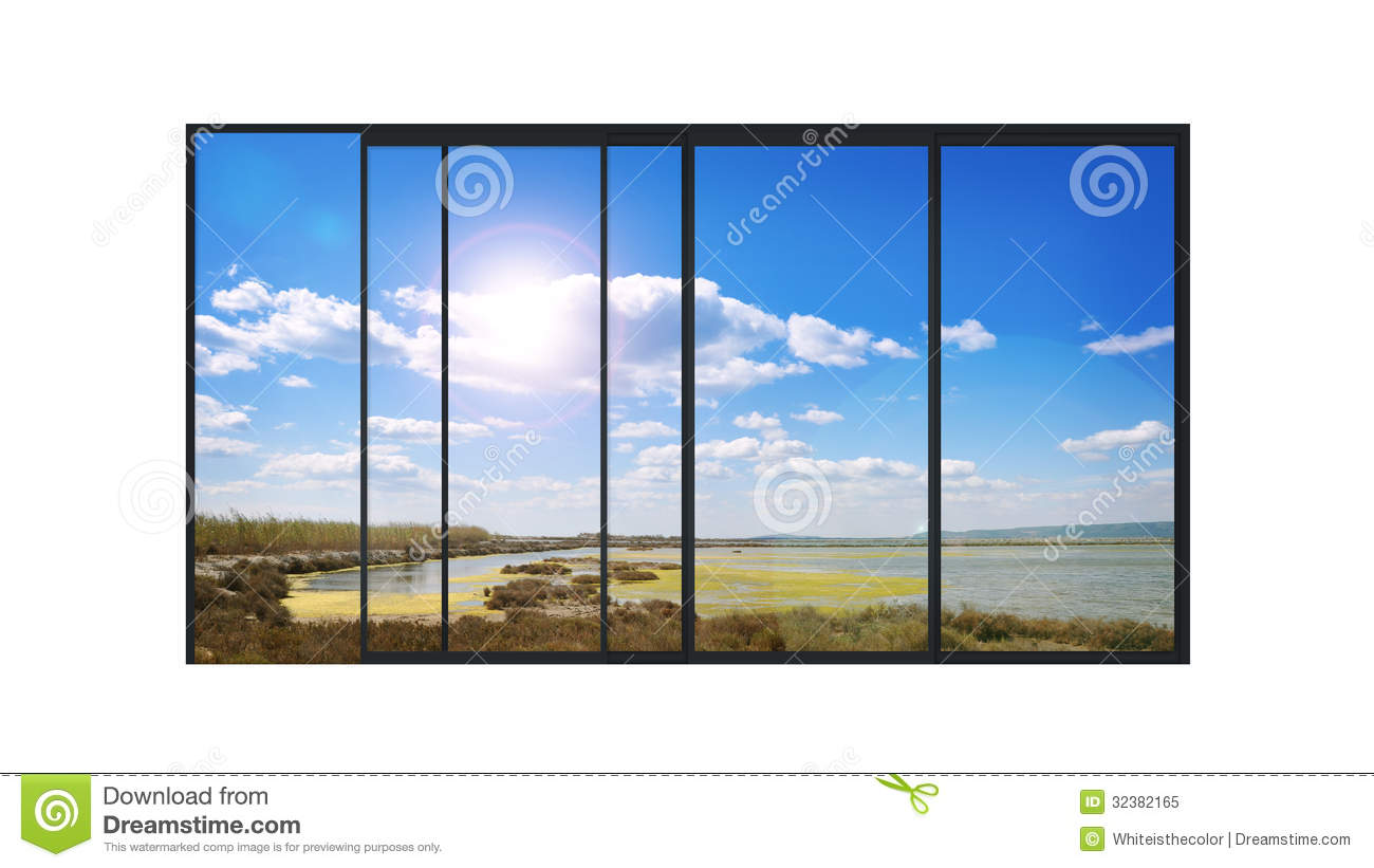 Panoramic Modern Window With A Lake Landscape Royalty Free Stock Photo ...