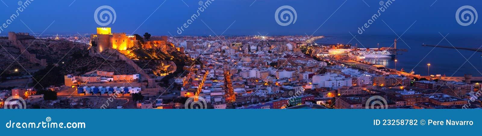 Panoramic night Citadel of Almeria