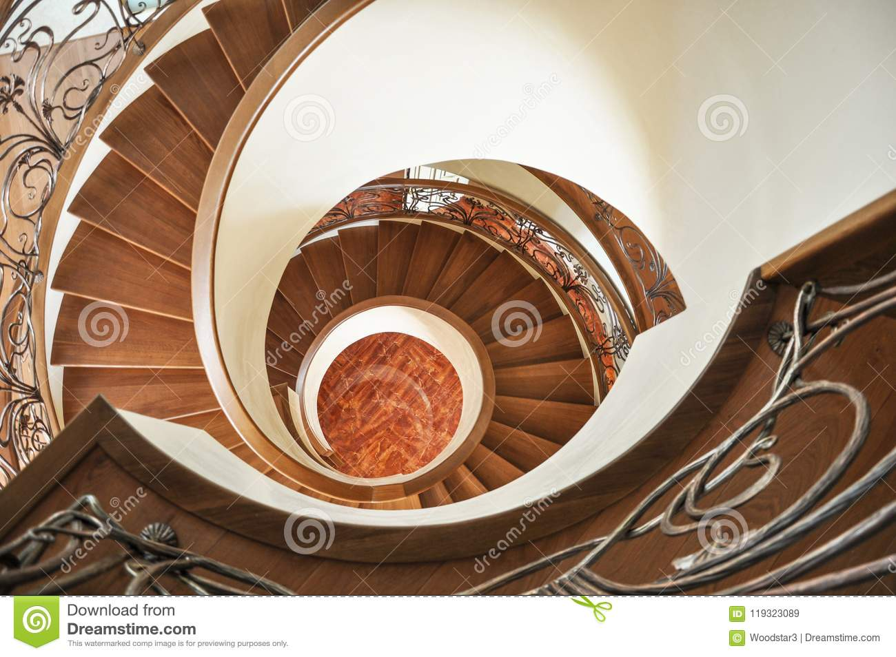 Spiral Staircase View From Above Stock Image Image Of Panoramic