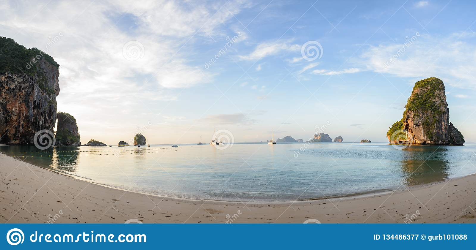 Panoramic Phra Nang Beach In Andaman Sea Krabi Thailand