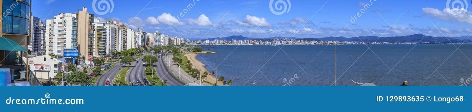 Panoramic picture of the promenade in Florianopolis