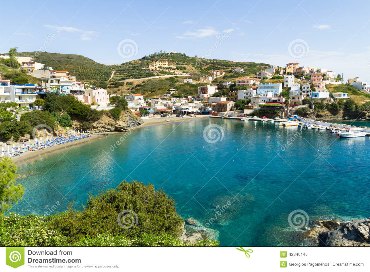 Panoramic skyline view of bali crete stock photo image for Small beach hotels