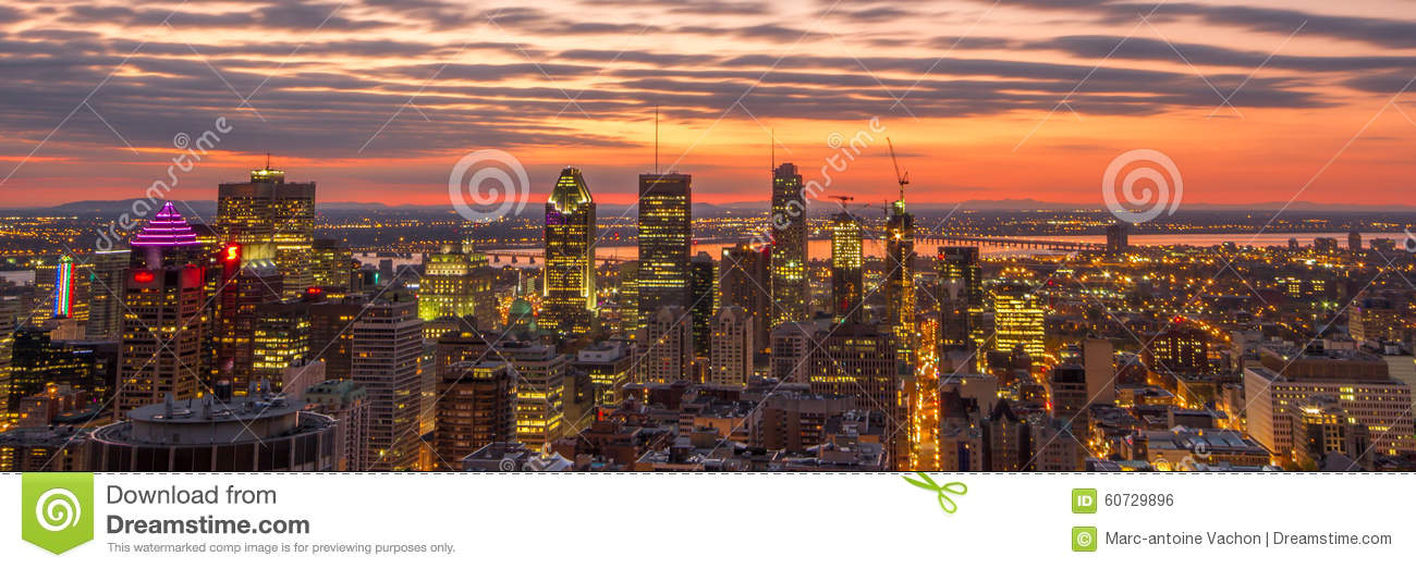 Panoramic sunrise over the city