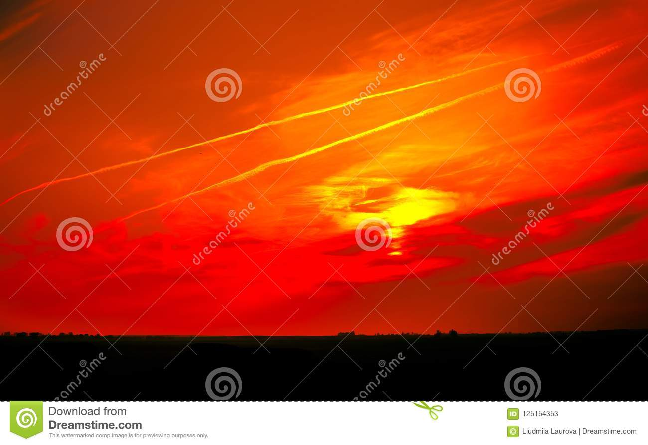 Panoramic Surreal Landscape Bloody Sky With Horizon Line Stock Image