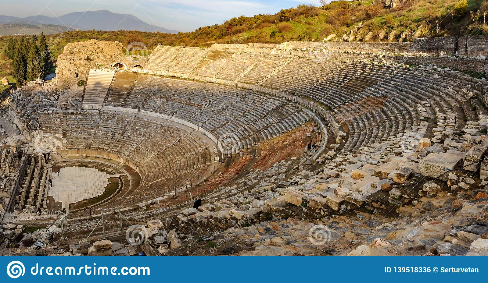 Panoramic view of the ancient city from the top of the Ephesus Theater. The ancient city is listed as a UNESCO World Heritage Site