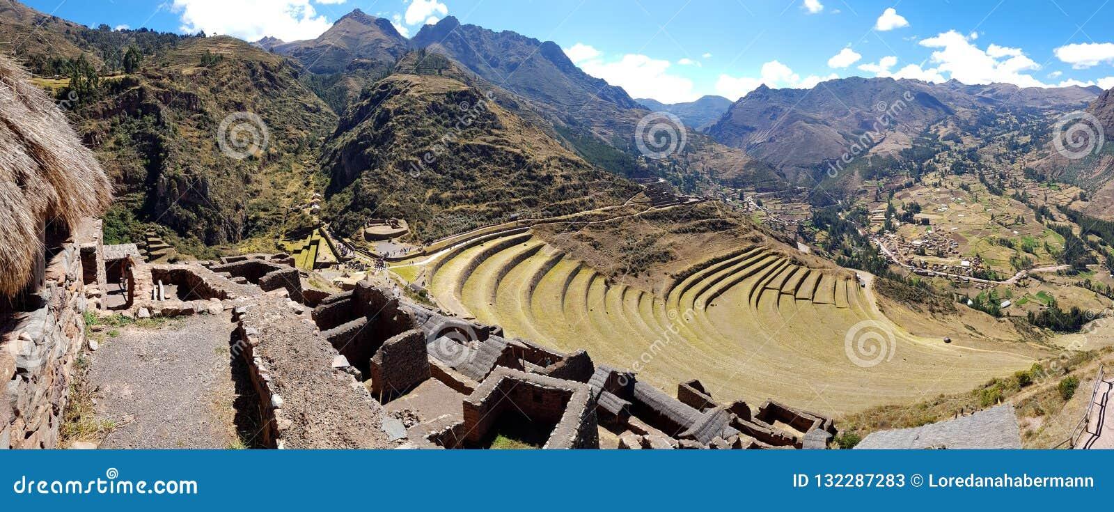 Peru, Pisac Pisaq - Inca ruins in the sacred valley in the Peruvian Andes
