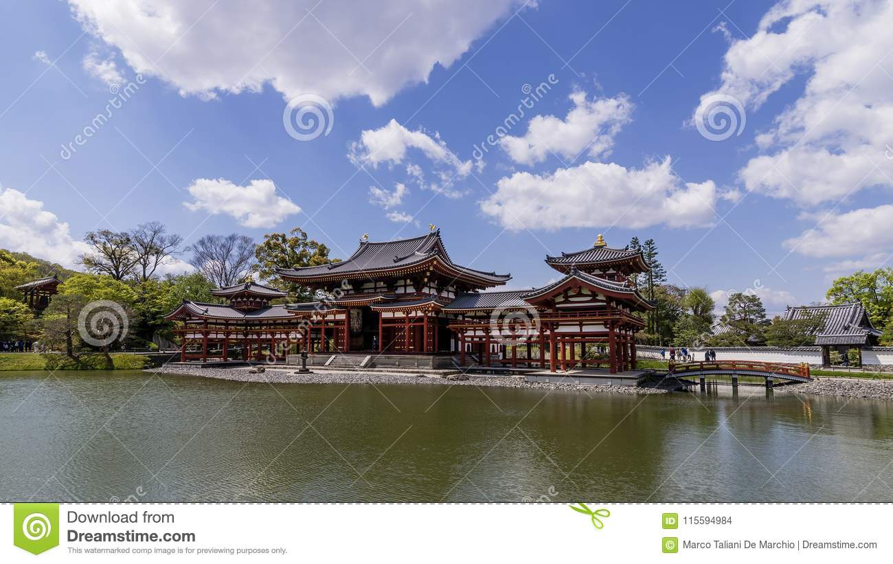 Panoramic view of the beautiful Byodo-in temple in Uji, Kyoto, Japan, on a beautiful sunny day with some clouds