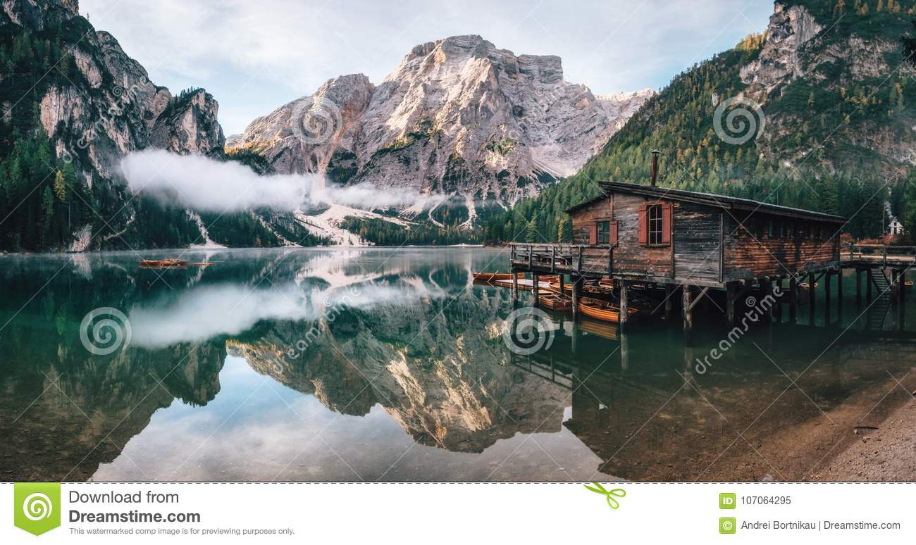 Panoramic view of Braies Lake in Dolomites, Italy