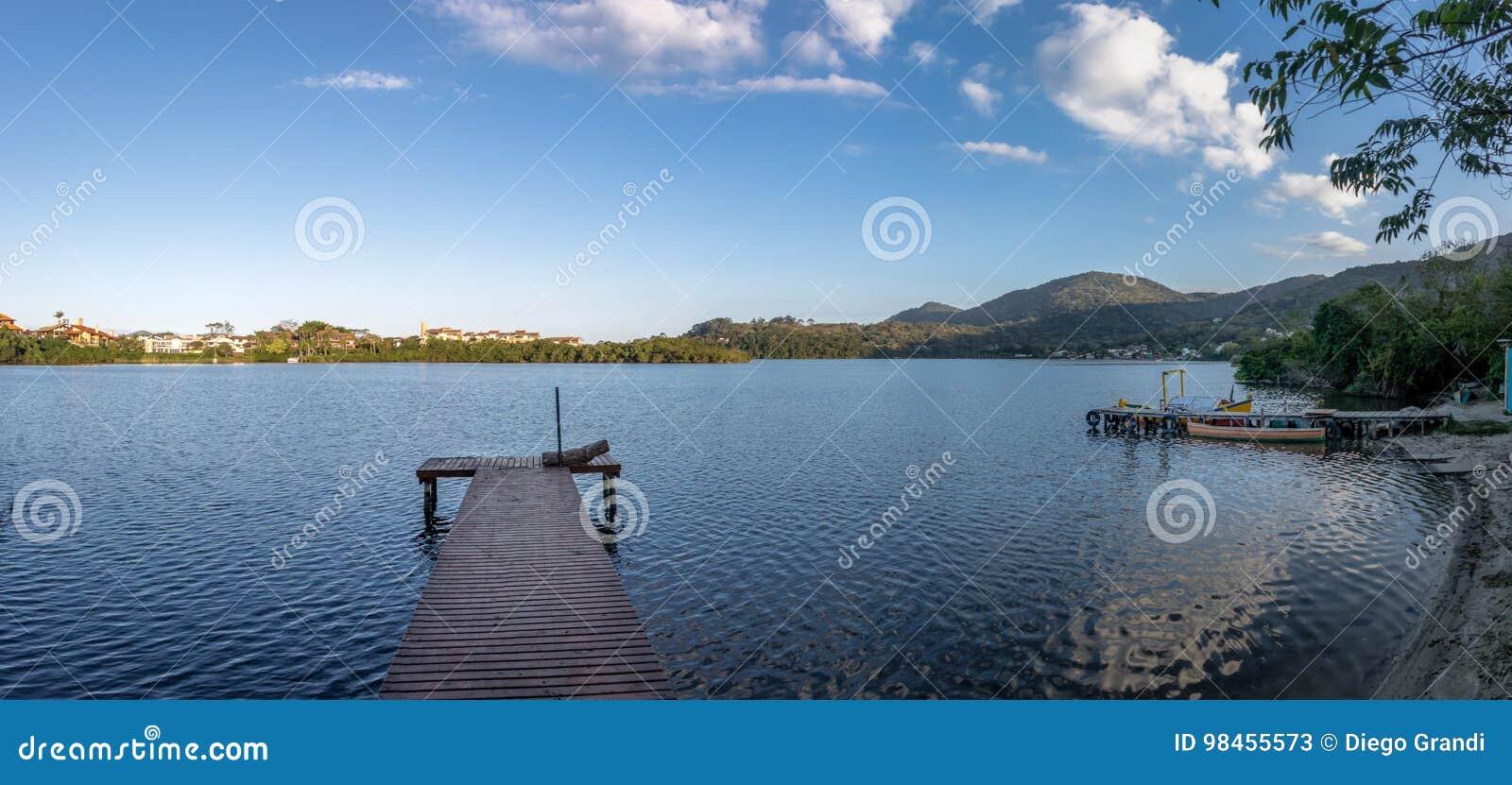 Panoramic view of Canto da Lagoa area of Lagoa da Conceicao - Florianopolis, Santa Catarina, Brazil