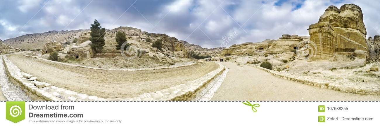 Panoramic view of canyon in Petra