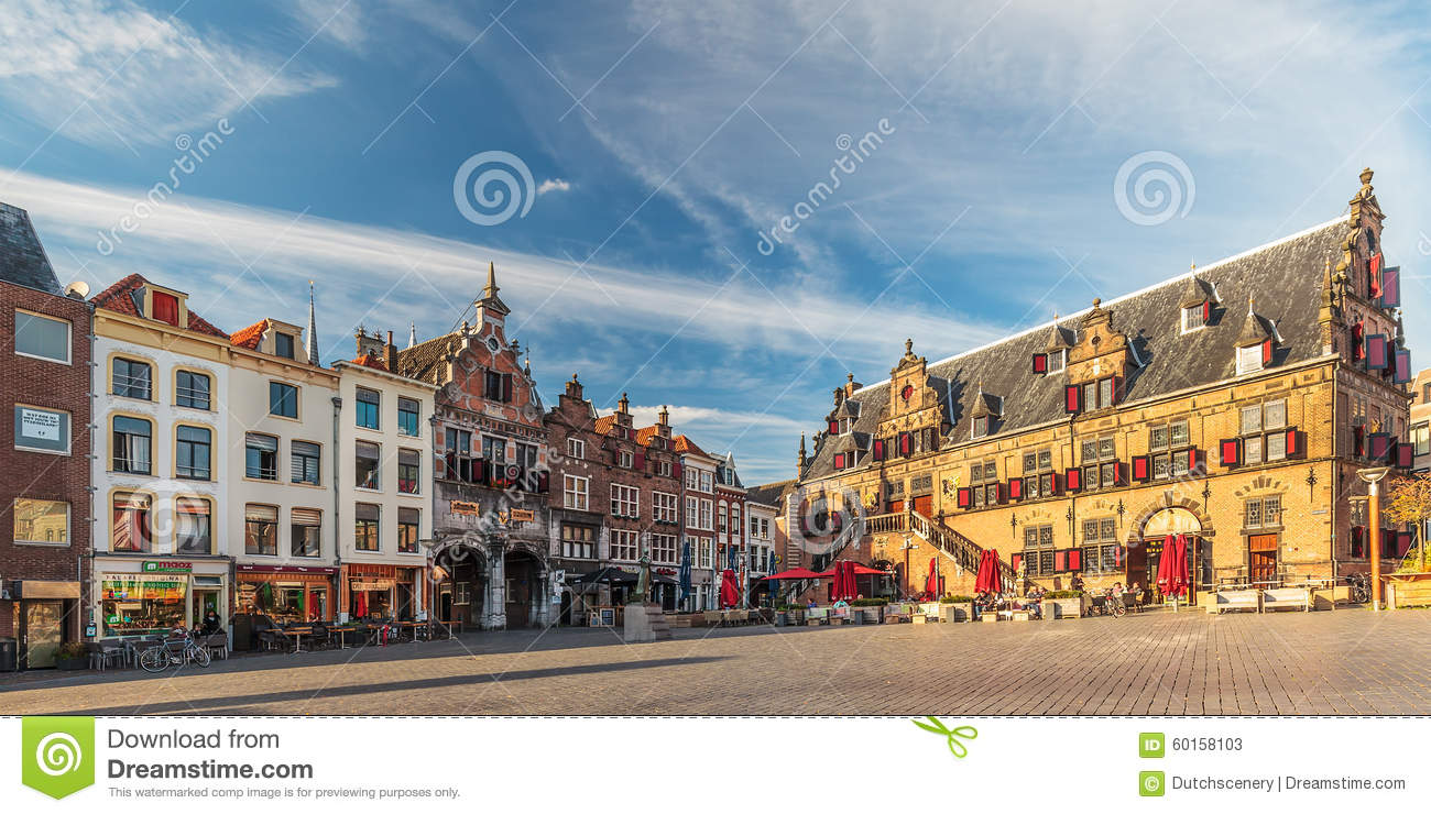 Panoramic view of the central square in the Dutch city of Nijmeg