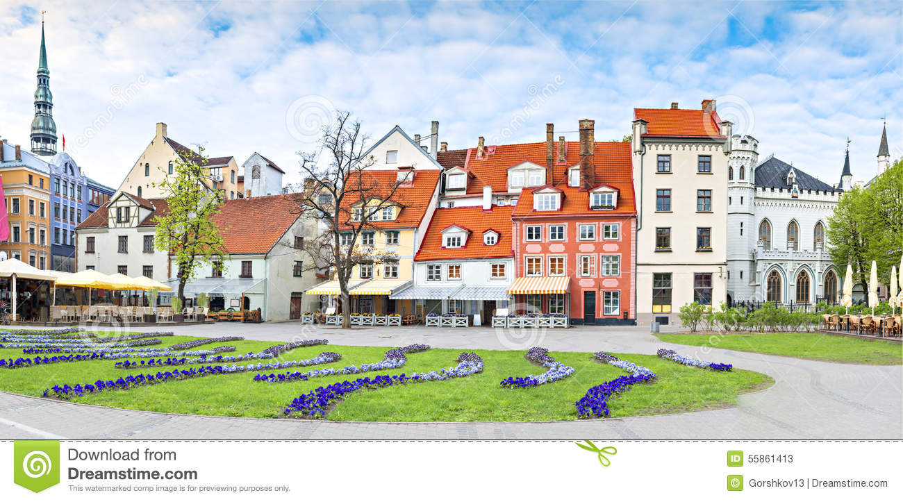 Panoramic view on central square of Riga city, Latvia, Europe