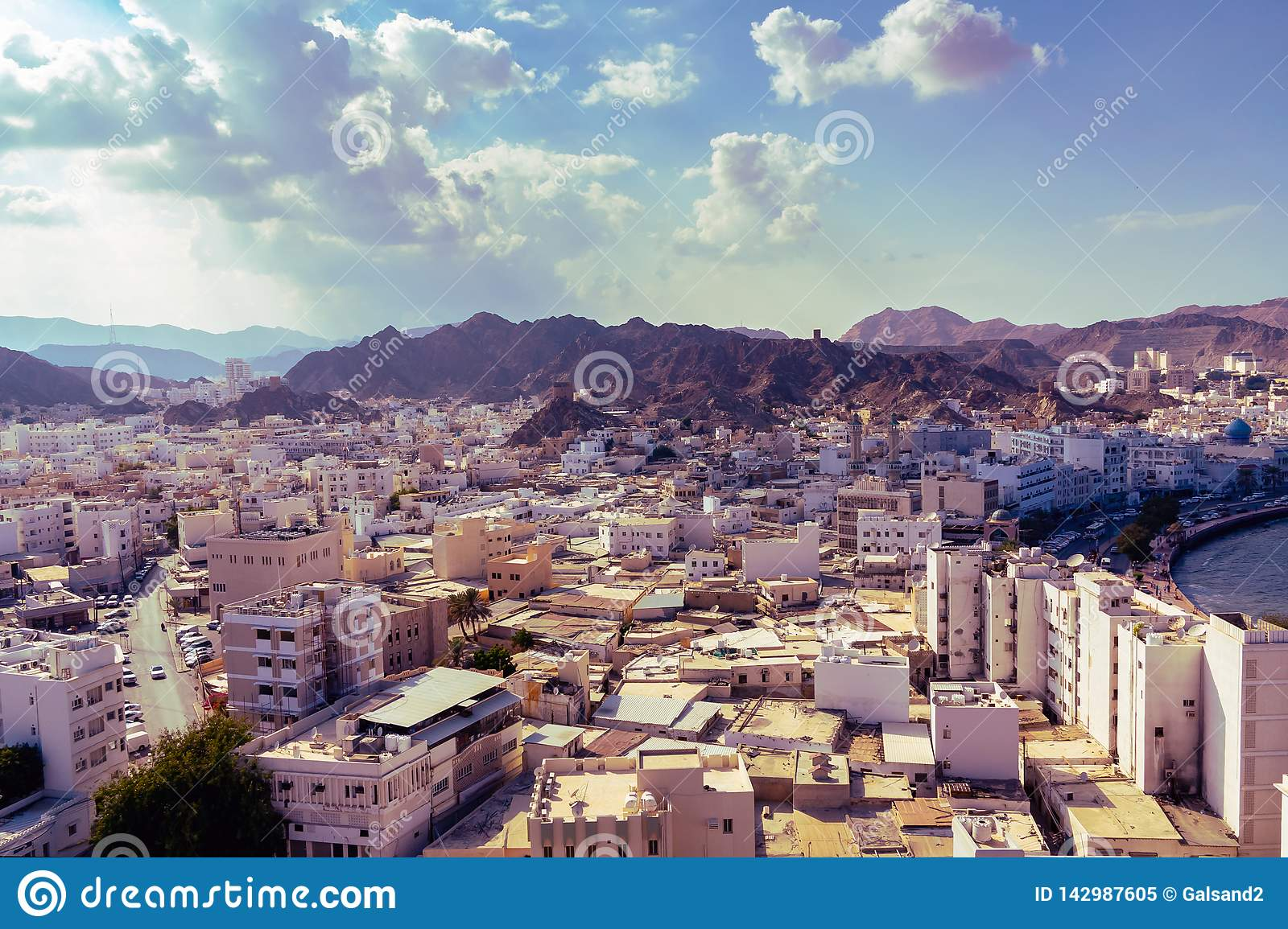 Panoramic View Of The City Muscat Capital Of Oman From Fort Muttrah