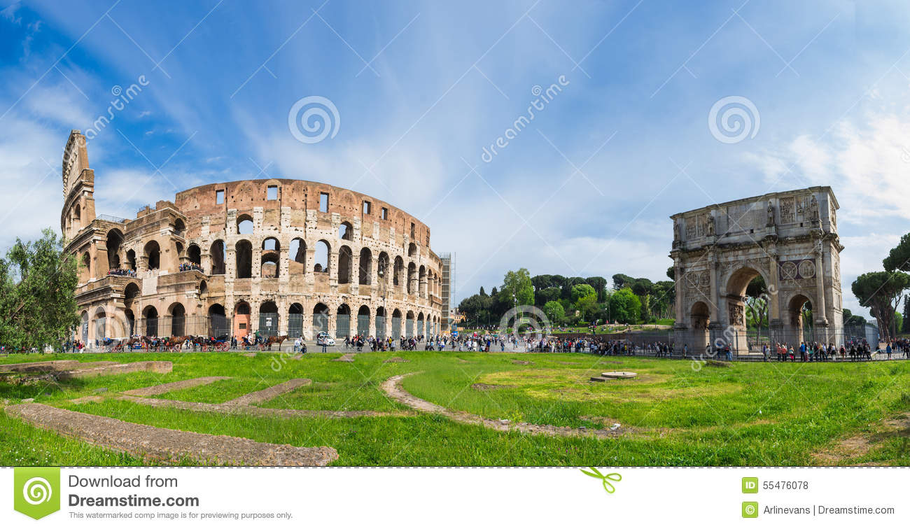 Panoramic View Of Colosseum In Rome Stock Photo Image Of View