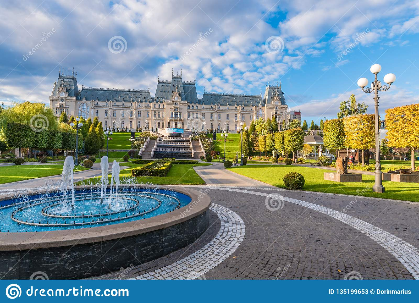 Panoramic view of Cultural Palace and central square in Iasi city, Moldavia Romania