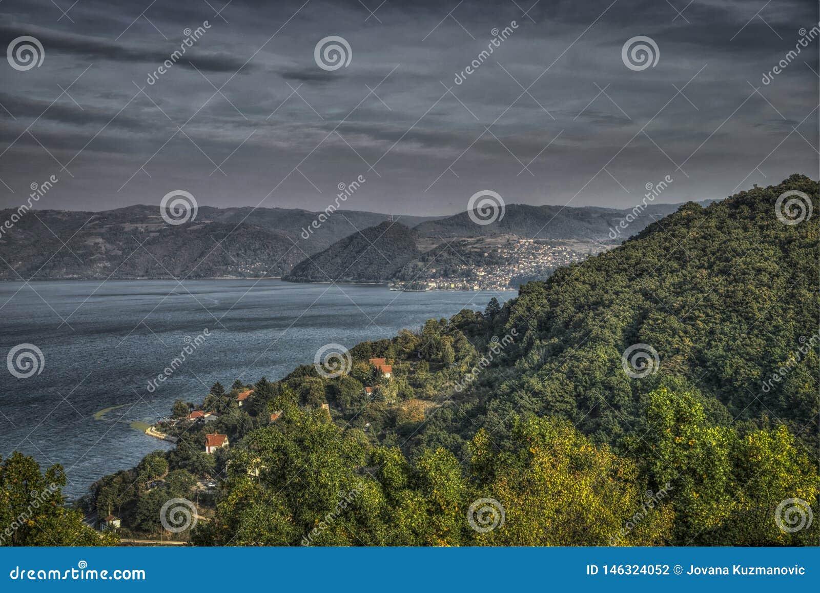 Panoramic view of Danube and Donji Milanovac