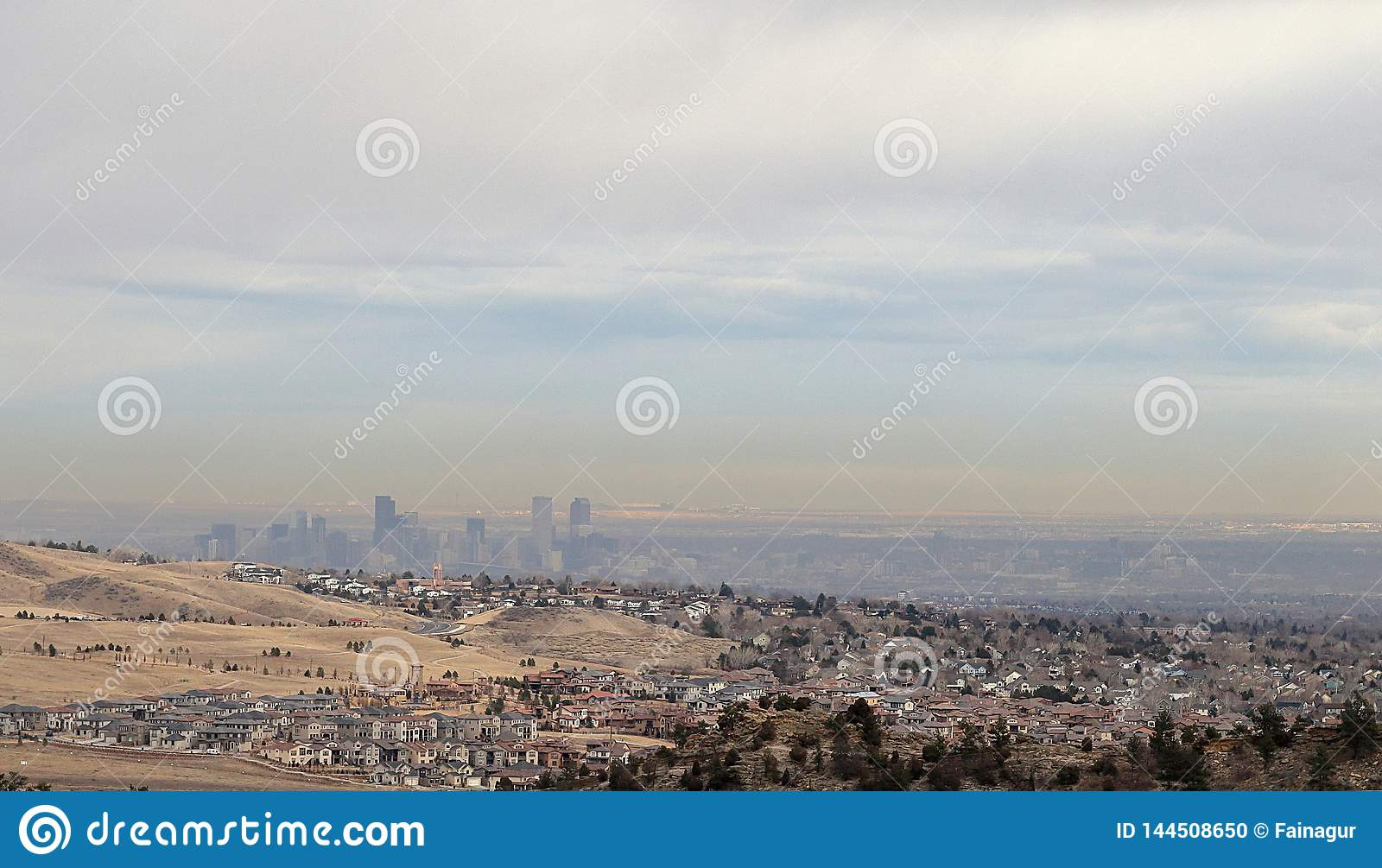Panoramic view of Denver and the skyline of the city from Rocky Mountain park