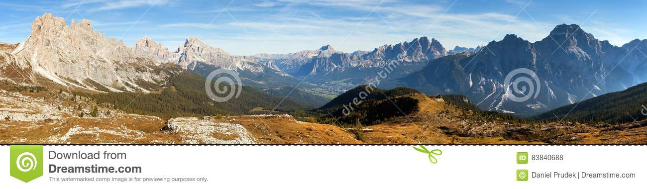 Panoramic view of dolomiti around Cortina d Ampezzo