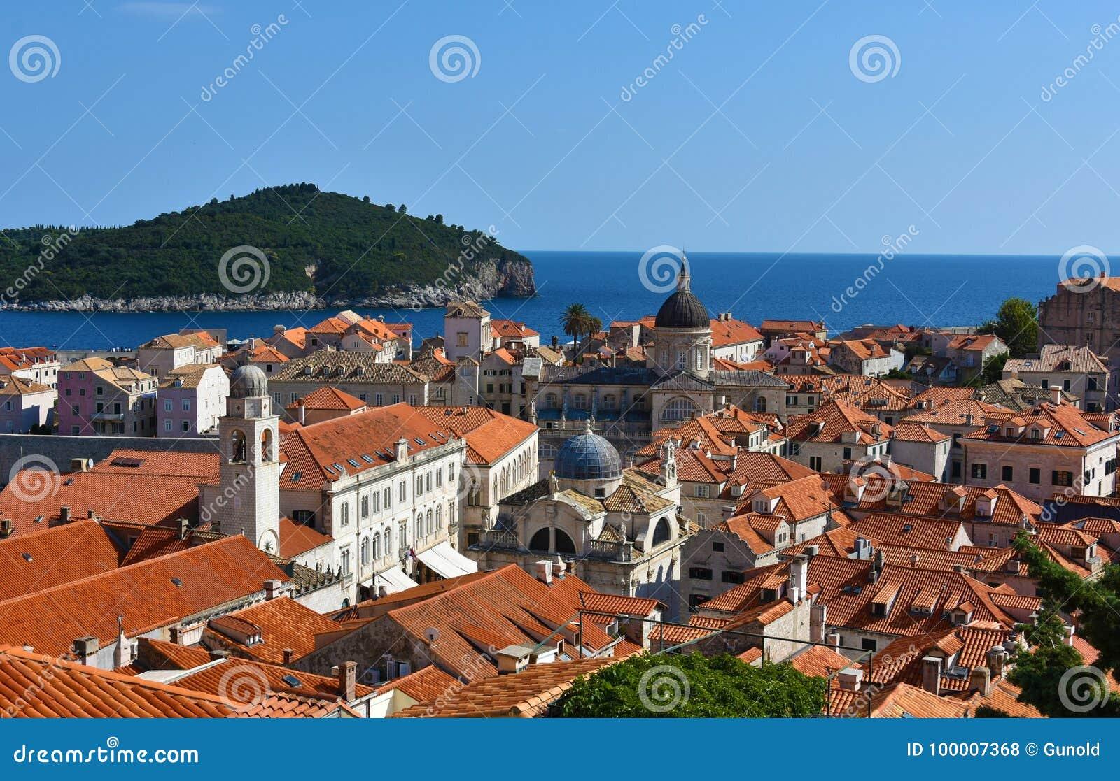 Panoramic view Dubrovnik and Lokrum