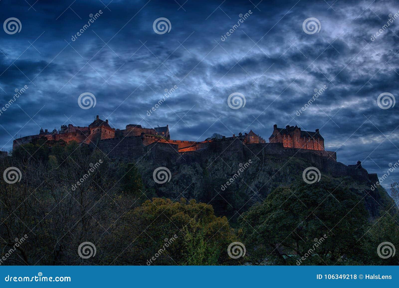 Panoramic view of Edinburgh Castle at Night