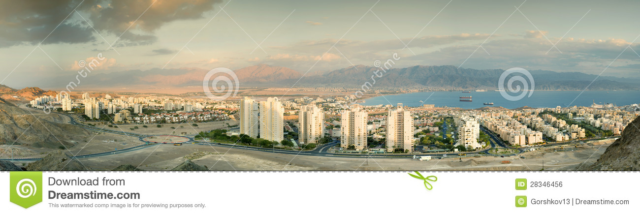 Panoramic view on Eilat and Aqaba