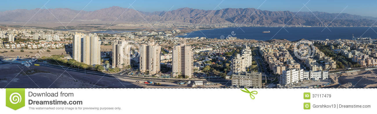 Panoramic view on Eilat city and Aqaba gulf