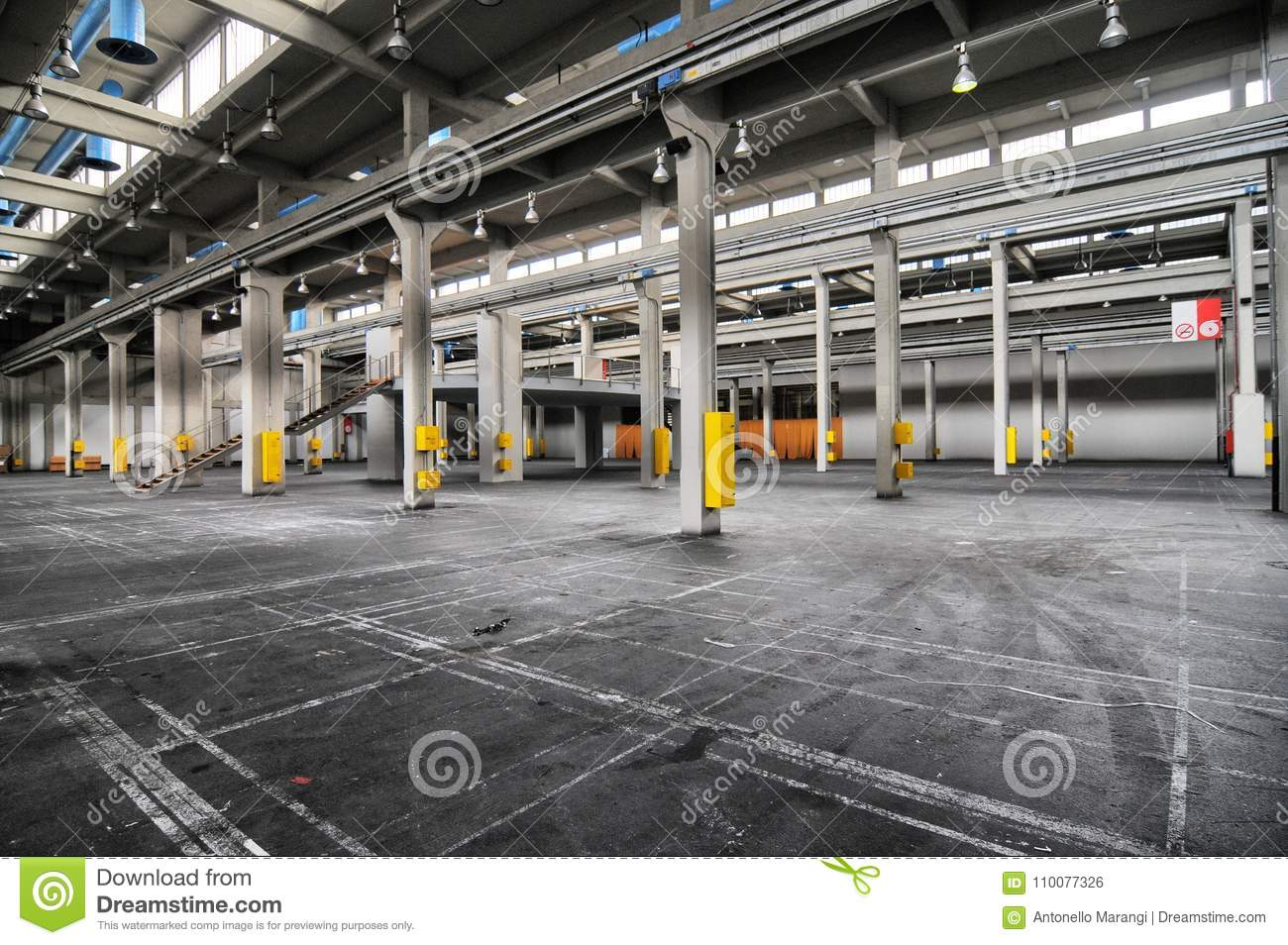 Panoramic view of empty industrial plant site nowadays site for meetings and expositions OGR