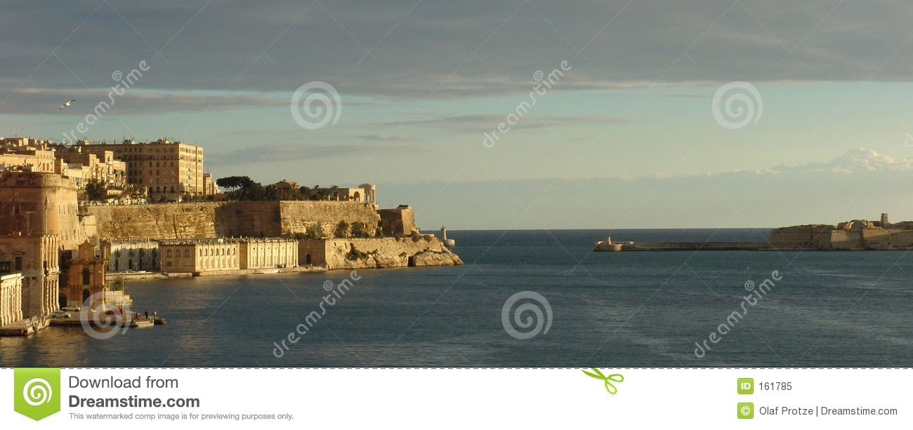 Download Panoramic View At The Entrance Of La Valetta Harbour, Malta Stock Image - Image of valetta, panorama: 161785