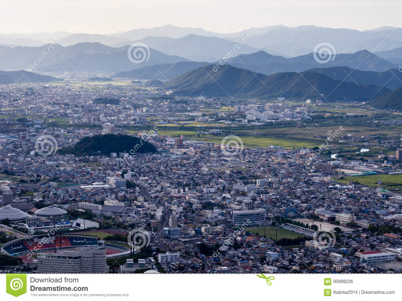 Panoramic view of Gifu city from the top of Gifu castle on Mount Kinka