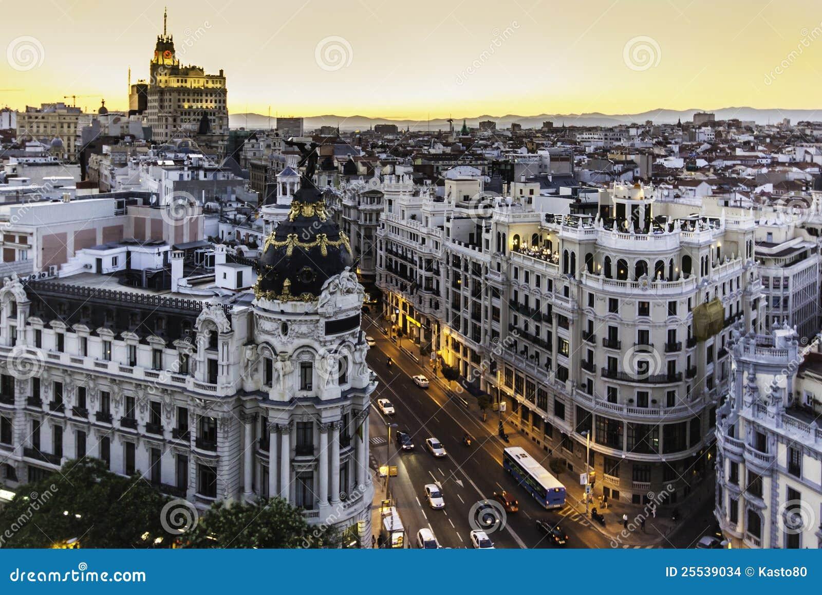 Panoramic View Of Gran Via Madrid Spain Stock Images