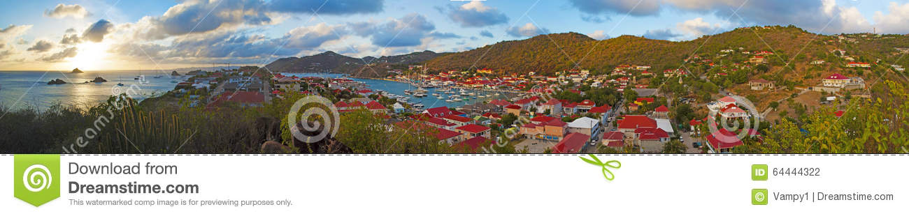 Panoramic view of Gustavia harbour seen from Fort Karl hill, St Barth, sailboats