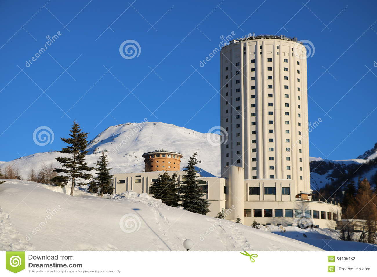 panoramic view hotel in sestriere, piedmont stock photo - image of