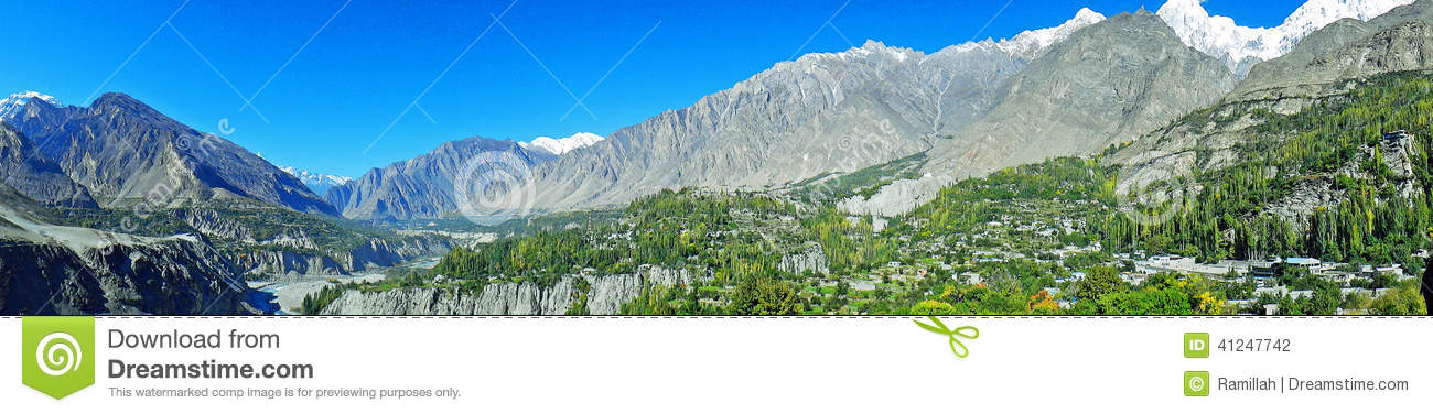 Panoramic view of Hunza Valley in Pakistan