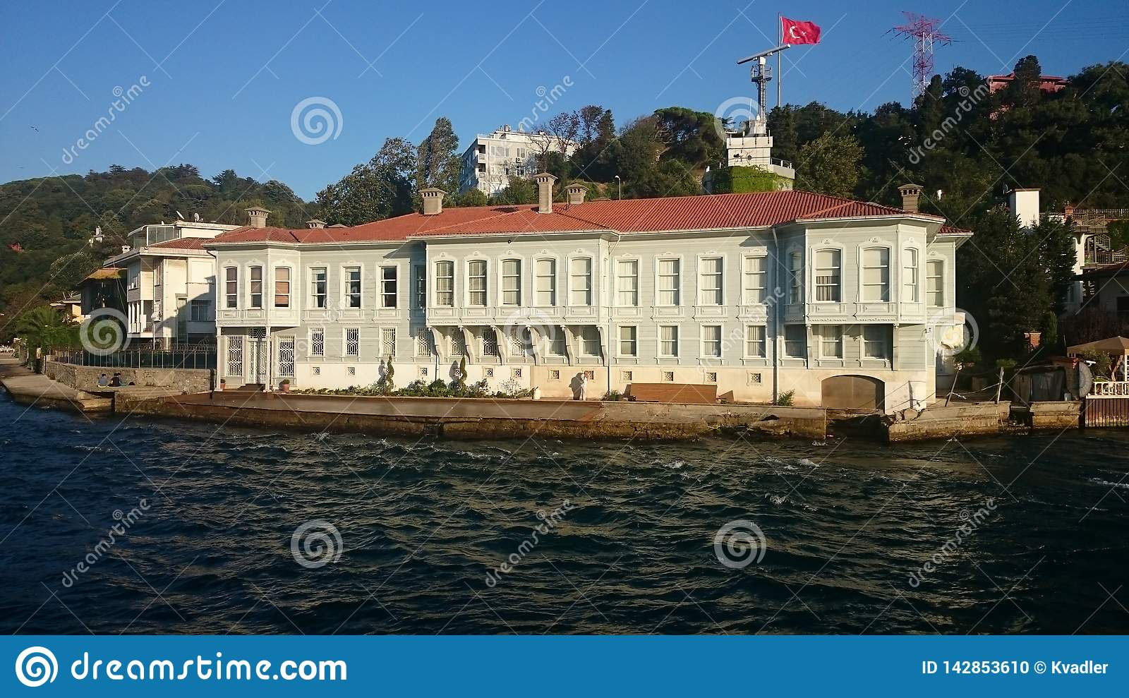 Panoramic view of Istanbul. Panorama cityscape of famous tourist destination Bosphorus strait channel. Travel landscape Bosporus,