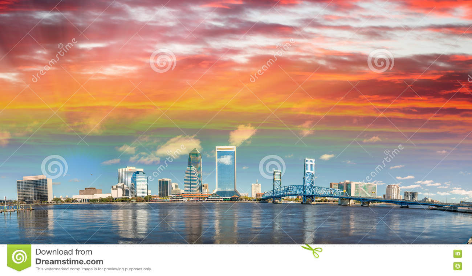 Panoramic view of Jacksonville skyline at dusk, Florida