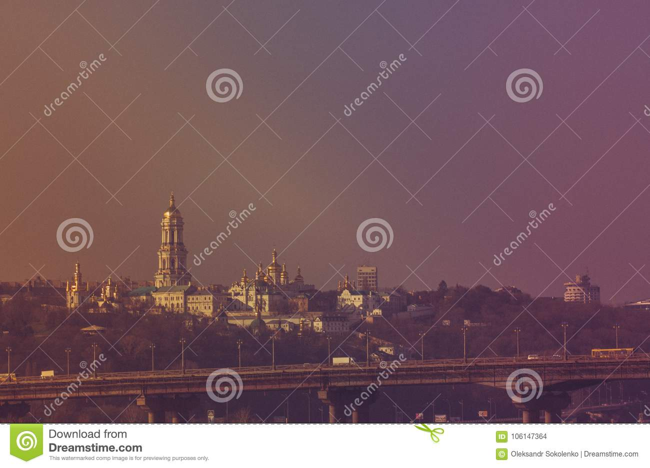 Panoramic view of Kiev Pechersk Lavra Orthodox Monastery in Kiev, Ukraine
