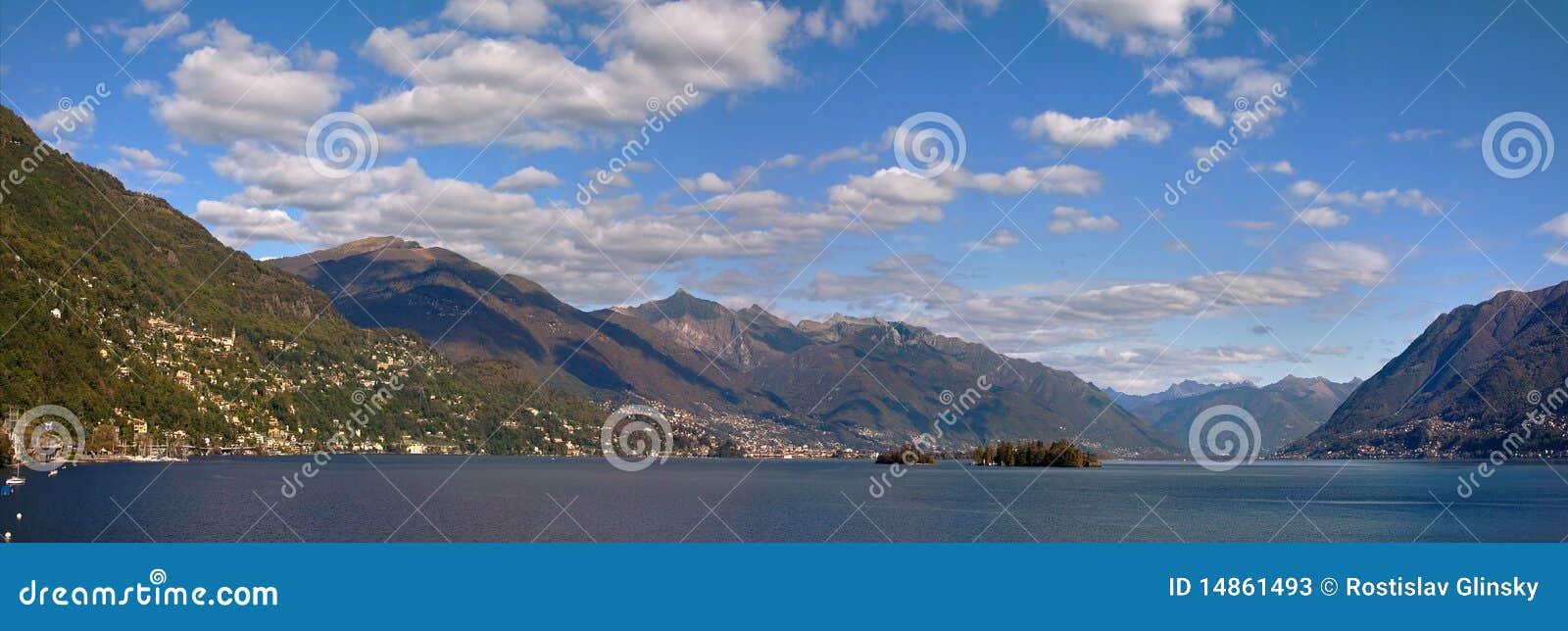 Panoramic view on Lake Maggiore.