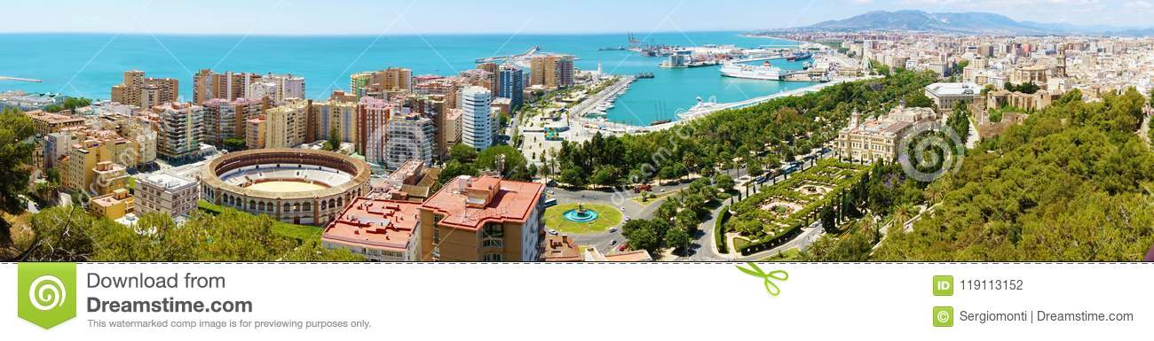 1b0af0a48b9 Panoramic view on Malaga City. Cityscape of Malaga with down town center  with Cathedral