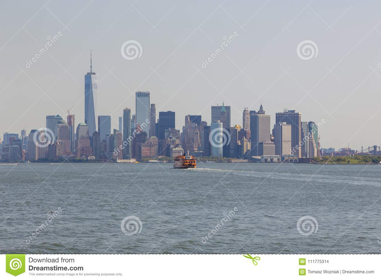 Panoramic view of Manhattan City skyline, New York.