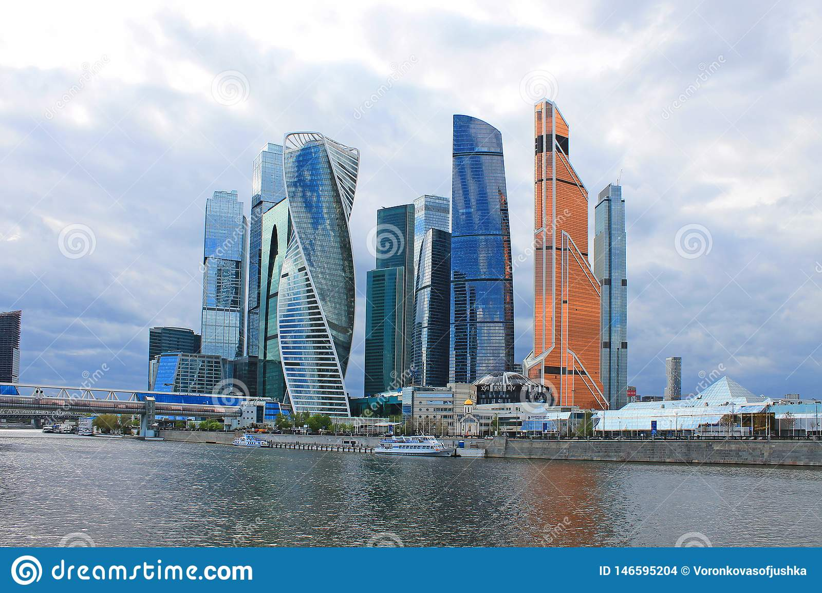 Panoramic view of the modern glass architectural complex Moscow city cloudy spring day Moscow Russia